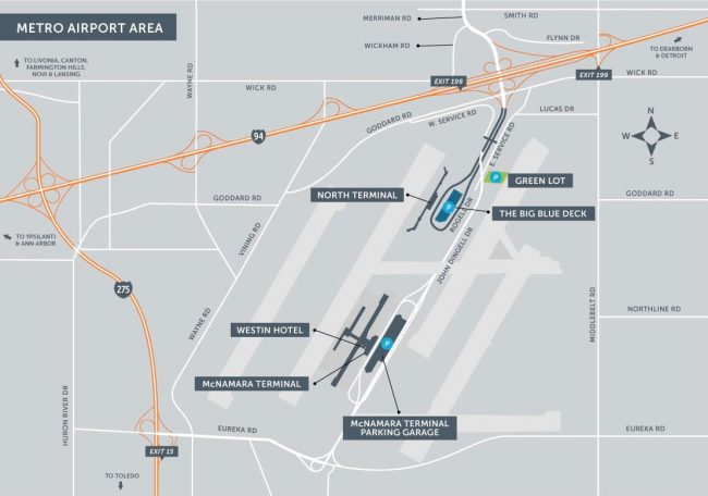 Detroit Metro Airport Area Map 2016