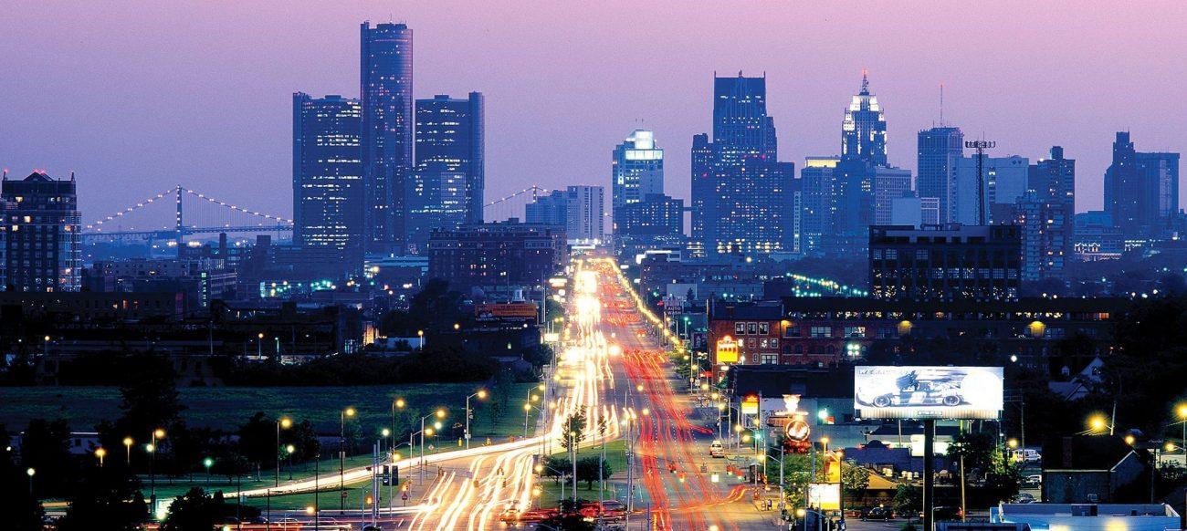 Jefferson Avenue and Detroit skyline