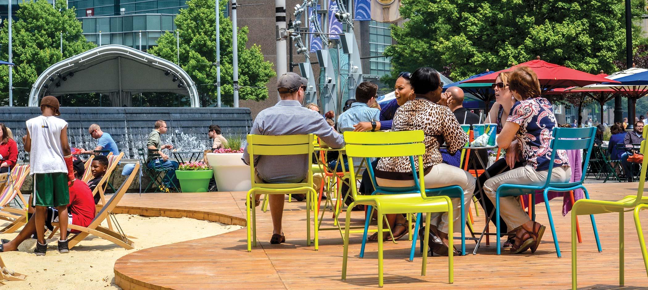 Campus Martius Park in the summer