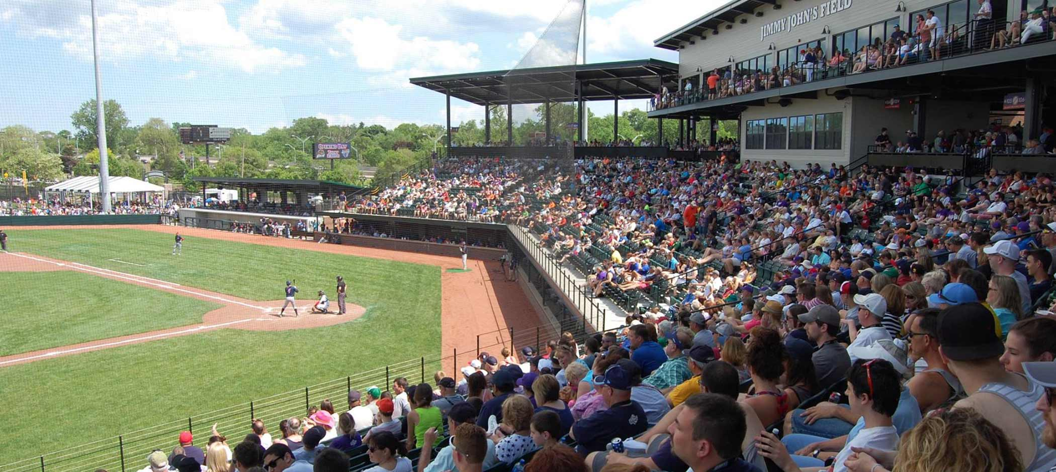 Jimmy John's Field and United Shore Professional Baseball League with fans