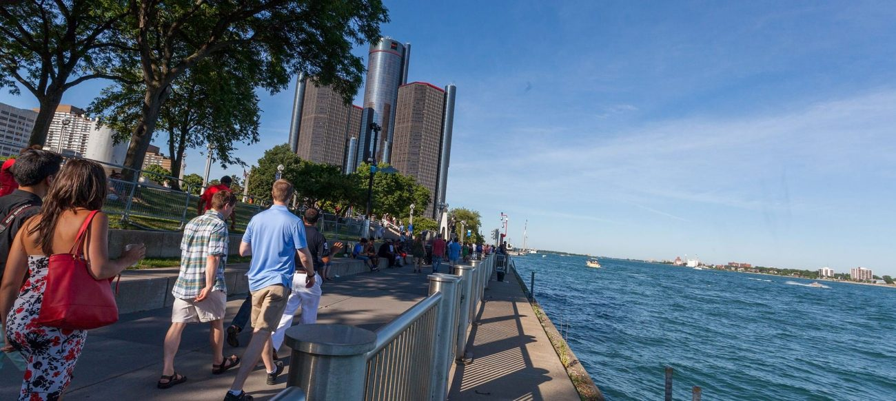 Detroit Riverwalk with the Renaissance Center