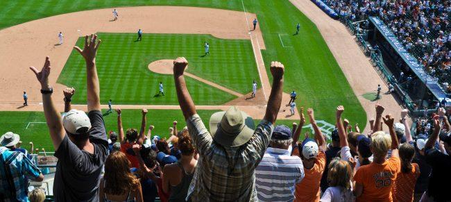 Detroit Tigers fans at Comerica Park