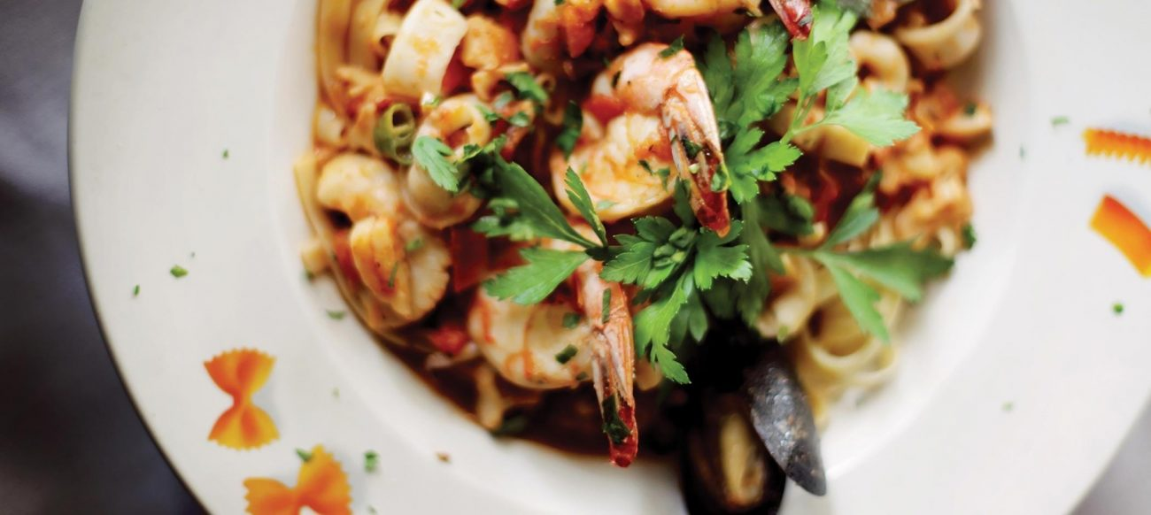 Seafood pasta from Luciano's Restaurant Clinton Township, Italian restaurants in Detroit