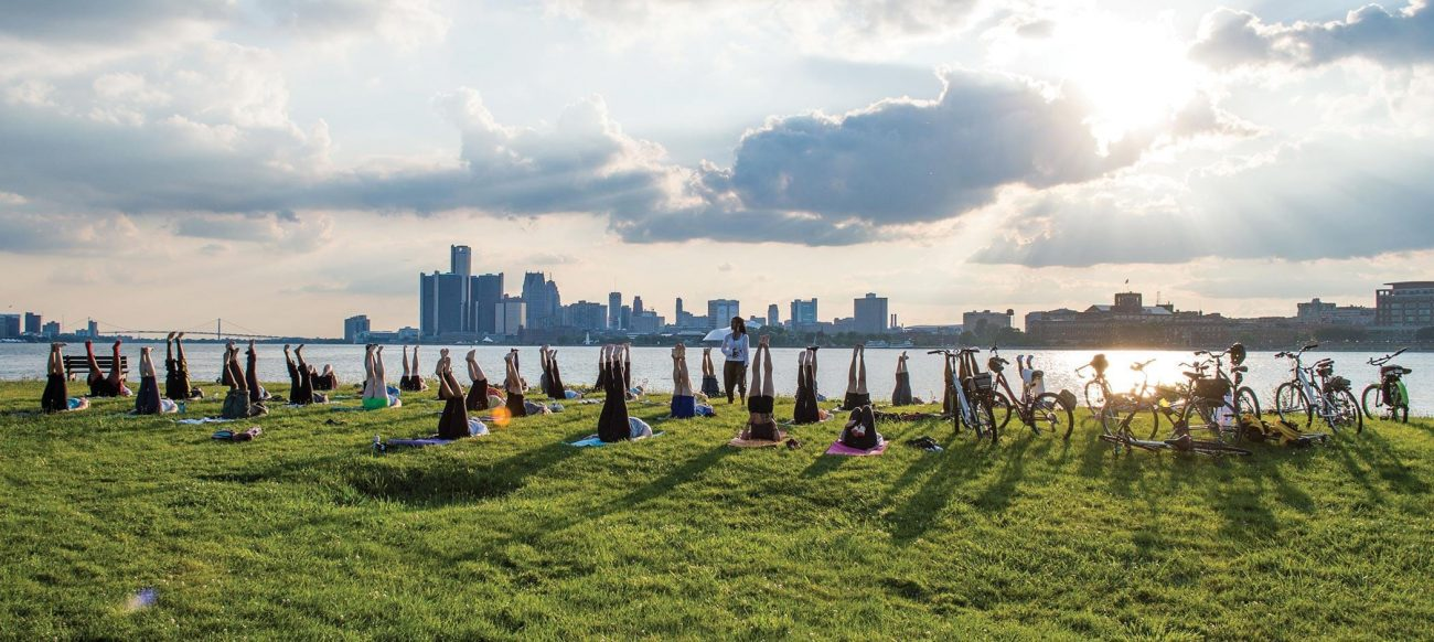 Bikes and Yoga at Detroit Community Yoga on the Detroit Riverfront