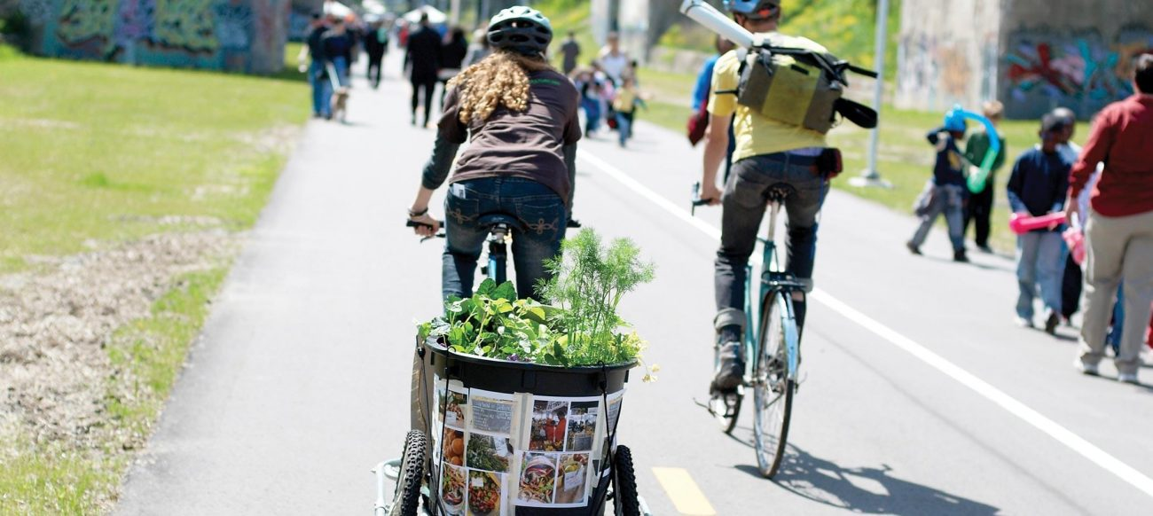 Bicycle Trailer with Plants on the Dequindre Cut Bike Path