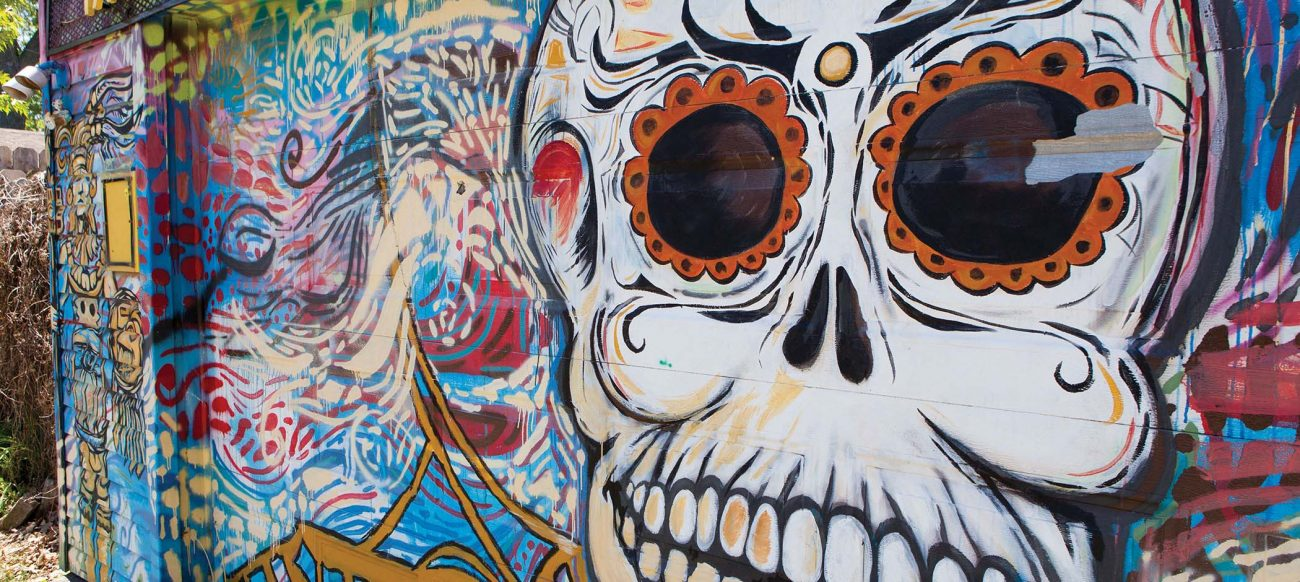 Day of the Dead Skull in the Alley Project Mural