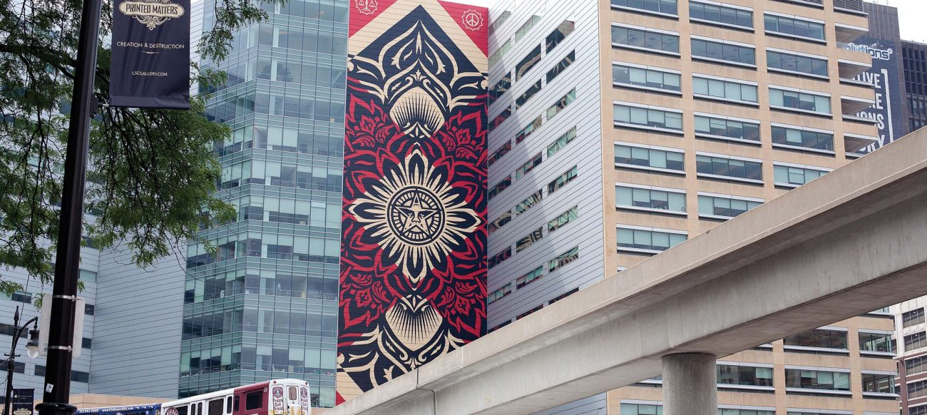 One Campus Martius Mural by Shepard Fairey