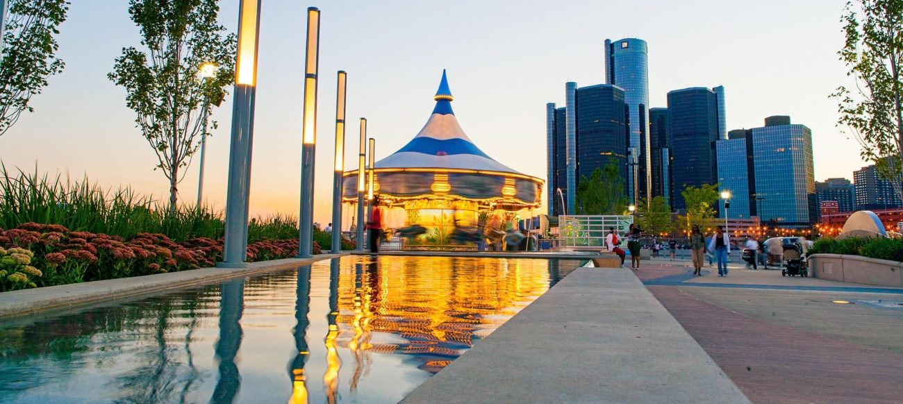Fountain, carousel and the Renaissance Center
