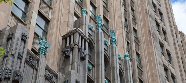 Building detail above entrance at Fisher Building