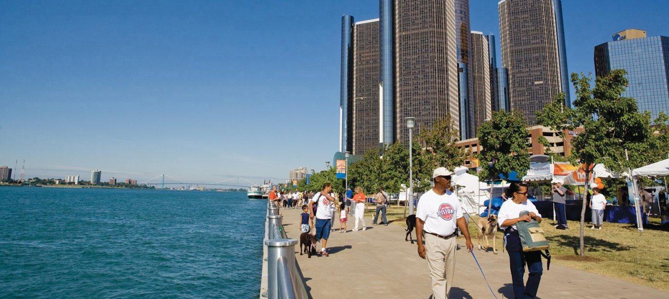 Detroit International Riverwalk near the Renaissance Center