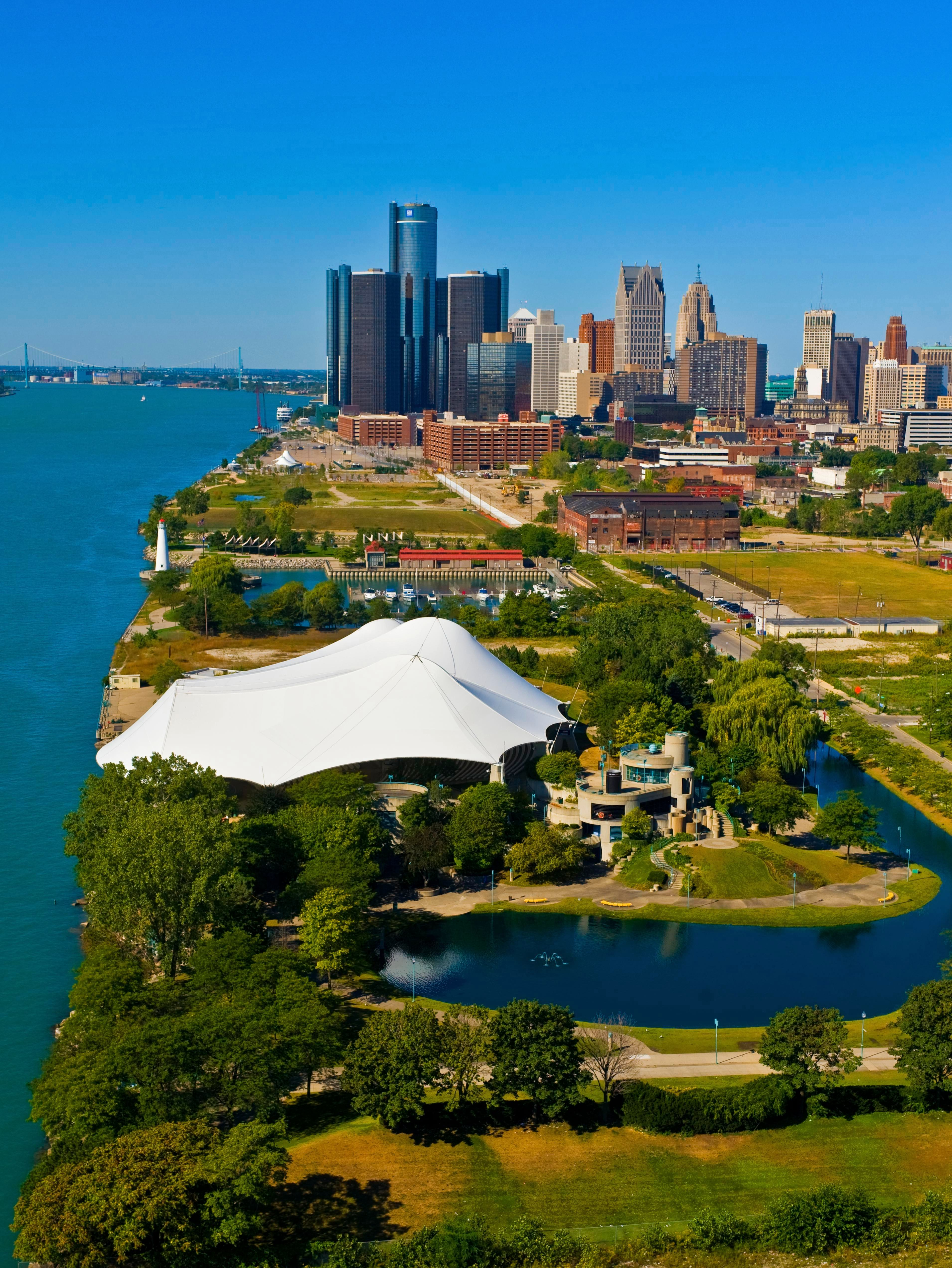Aerial view of Detroit riverfront