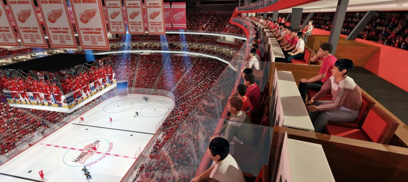 Rendering of Gondola seats at Little Caesars Arena