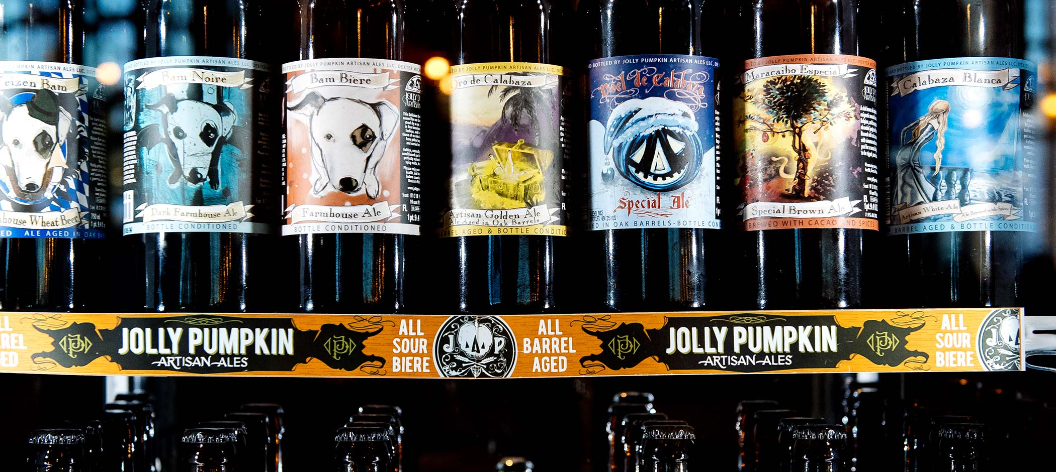 Jolly Pumpkin beer bottles
