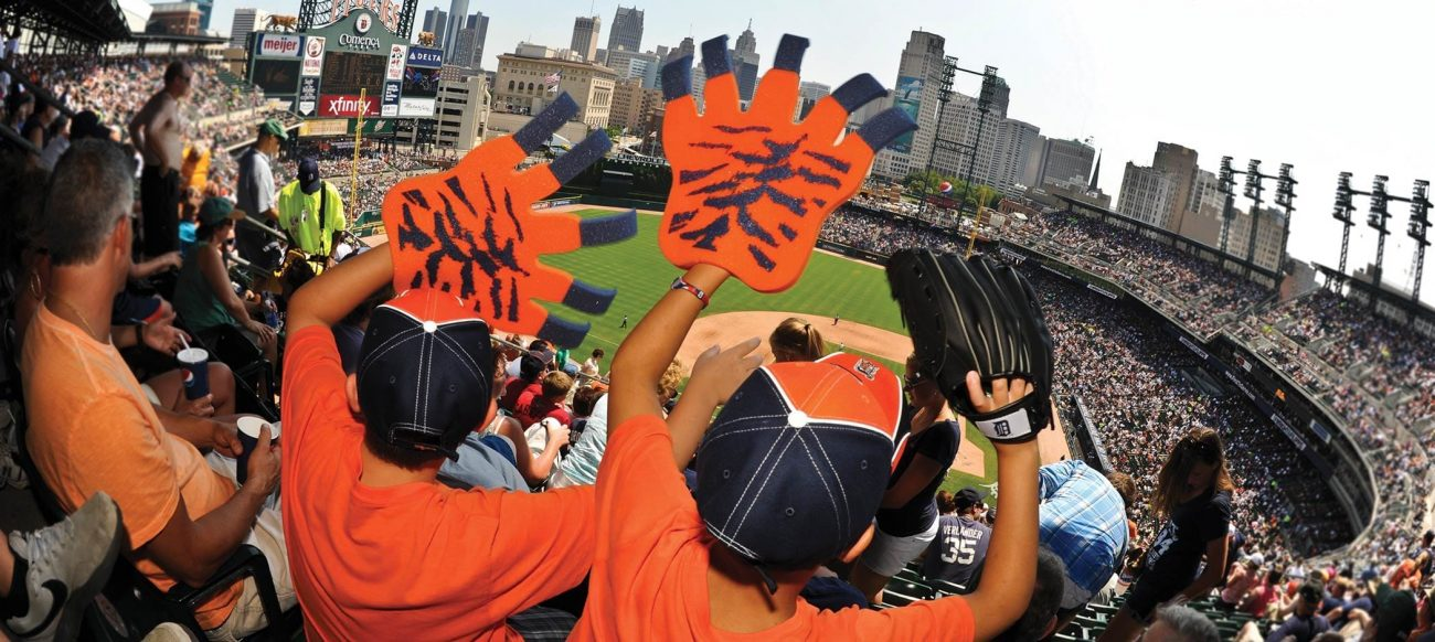 Tigers fans at Comerica Park