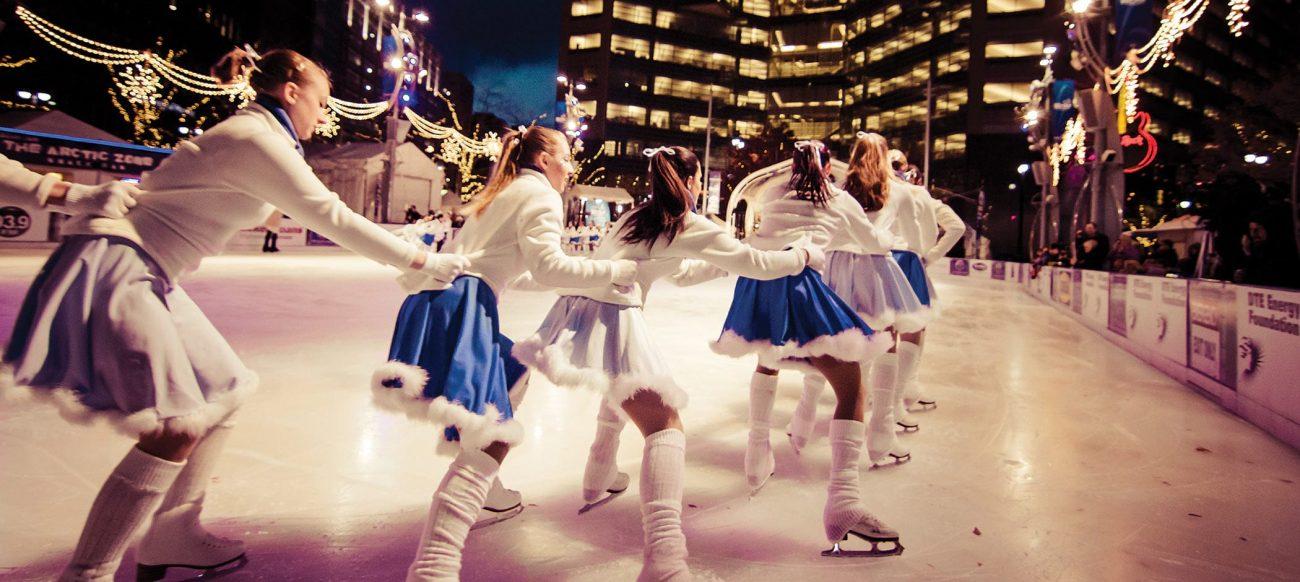 Girls iceskating at Campus Martius Park