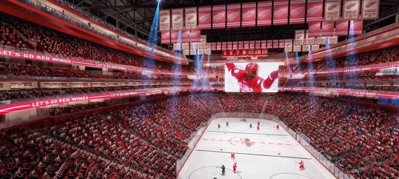 Rendering of interior hockey rink