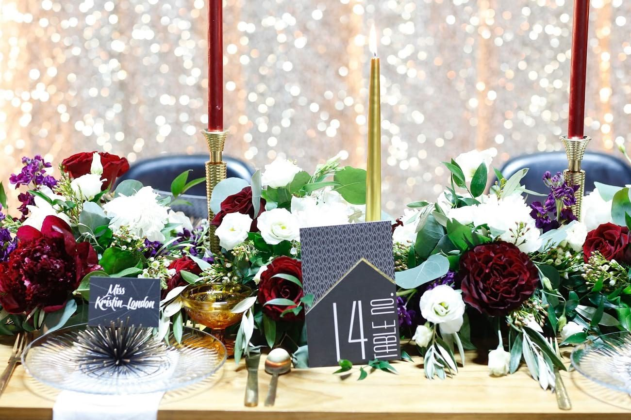 Blumz by JR Designs table with flowers, wedding in Detroit