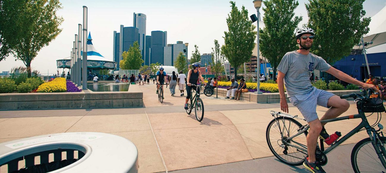 Biking on the Detroit riverfront