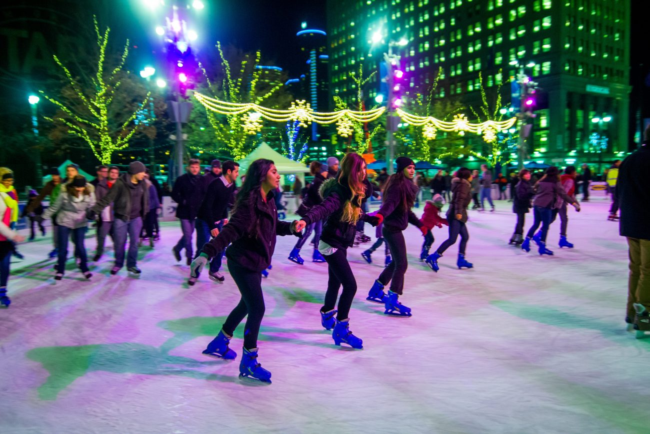Ice skating at Detroit Tree Lighting in Campus Martius