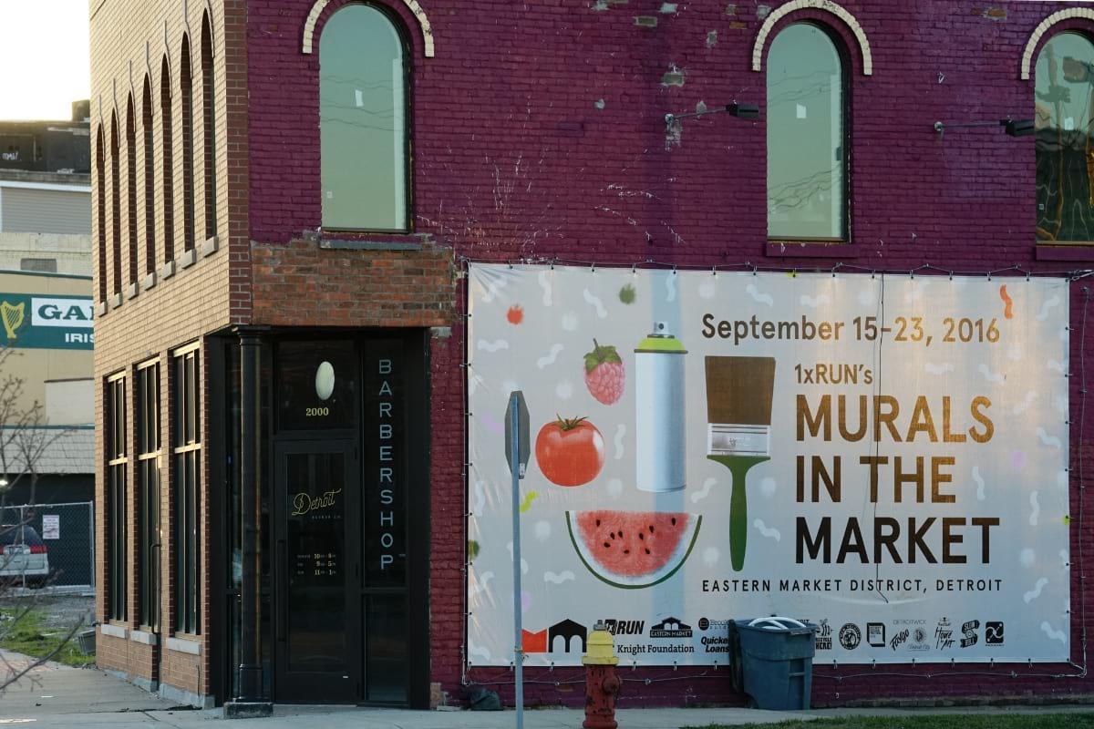 Murals in the Market sign in Detroit