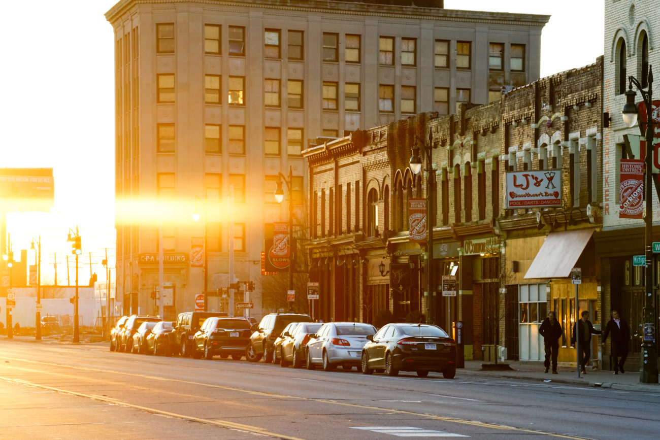 Corktown Detroit at sunset