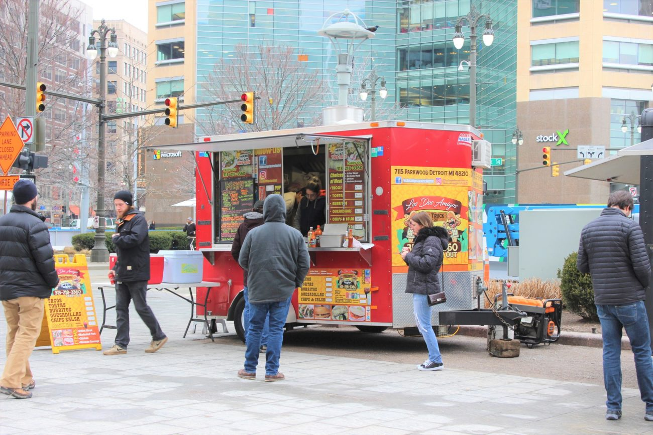 Food trucks in Cadillac Square
