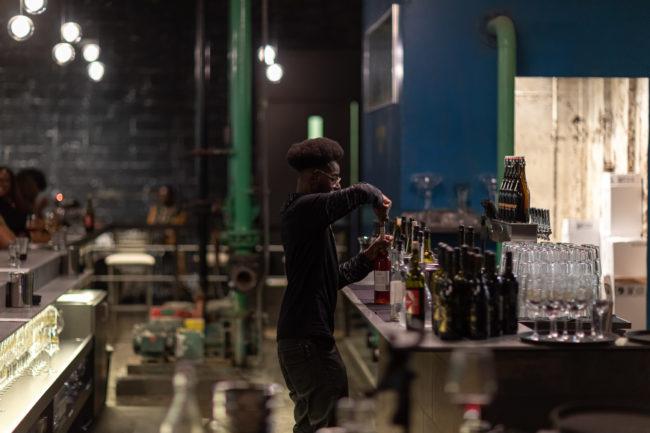 Bartender at Detroit Vineyards Tasting Room