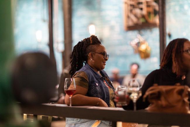 Customer at Detroit Vineyards Tasting Room