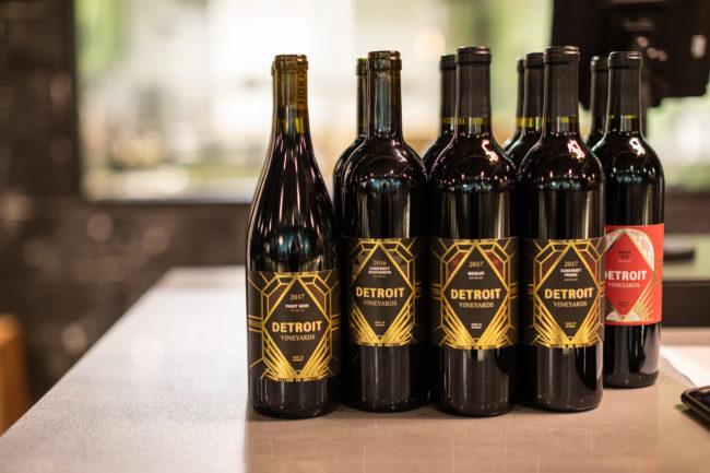 Detroit Vineyards wine bottles