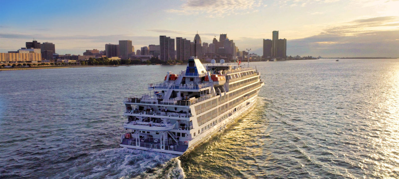 Cruise ship on Detroit River